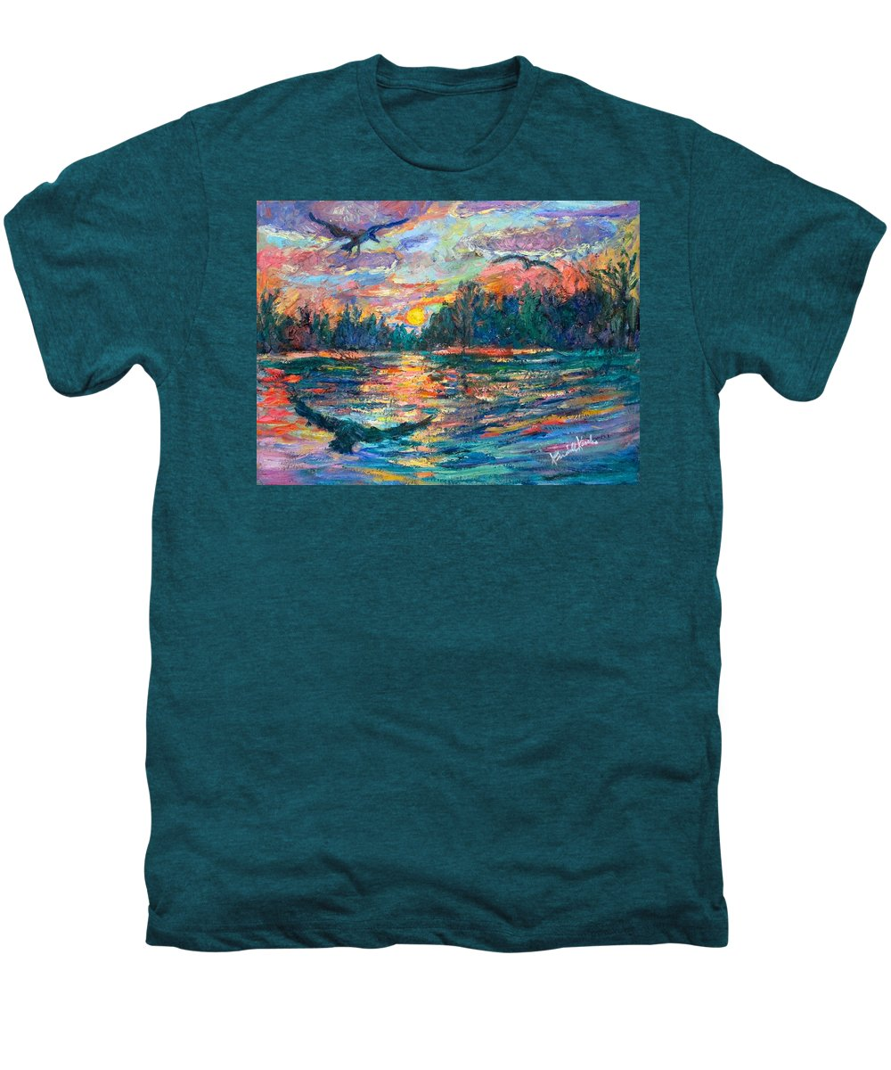 Landscape Men's Premium T-Shirt featuring the painting Evening Flight by Kendall Kessler