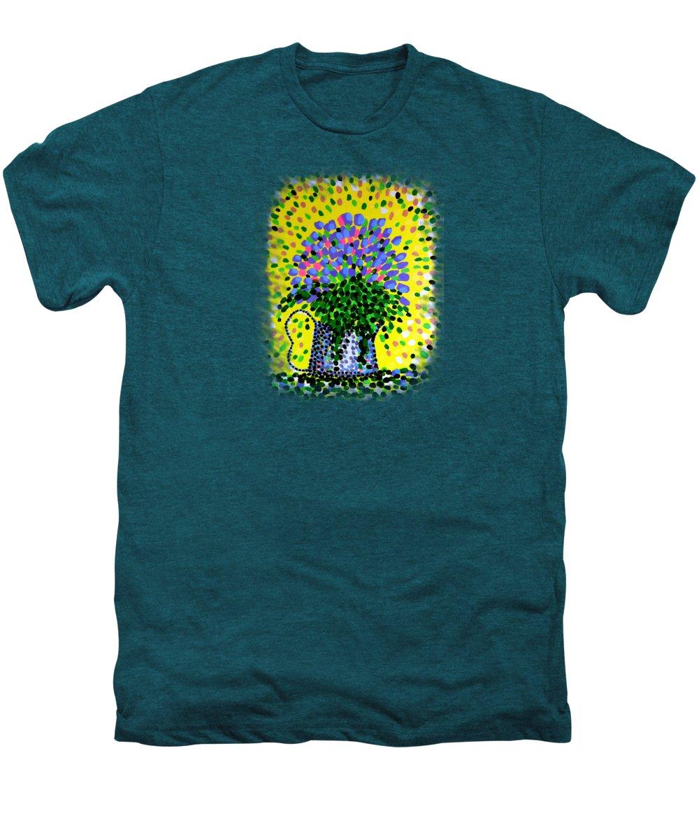 Flowers Men's Premium T-Shirt featuring the painting Explosive Flowers by Alan Hogan