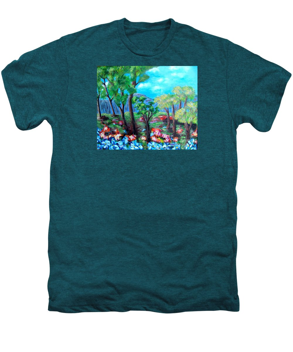 Fantasy Men's Premium T-Shirt featuring the painting Fantasy Forest by Laurie Morgan
