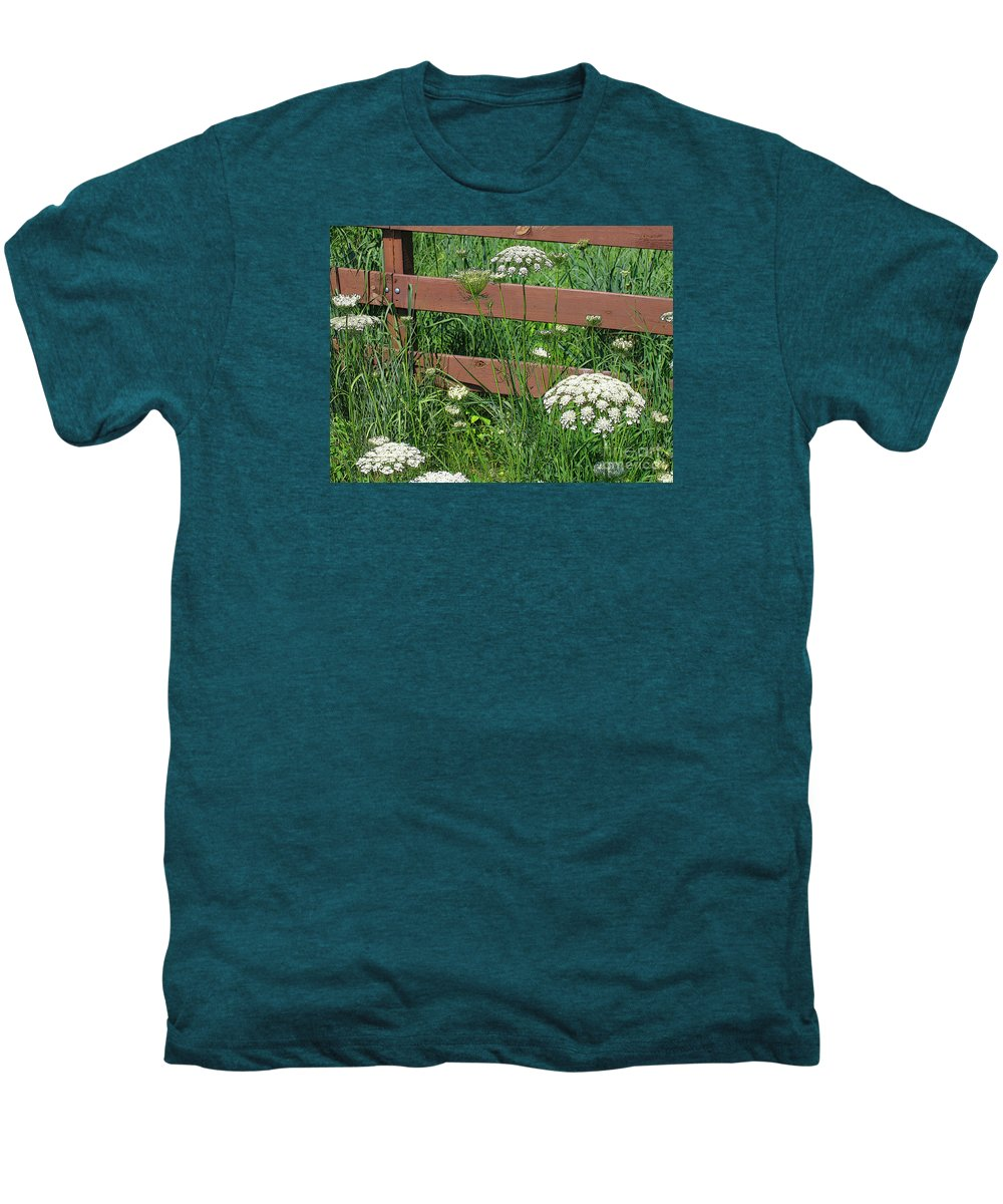 Flower Men's Premium T-Shirt featuring the photograph Field Of Lace by Ann Horn