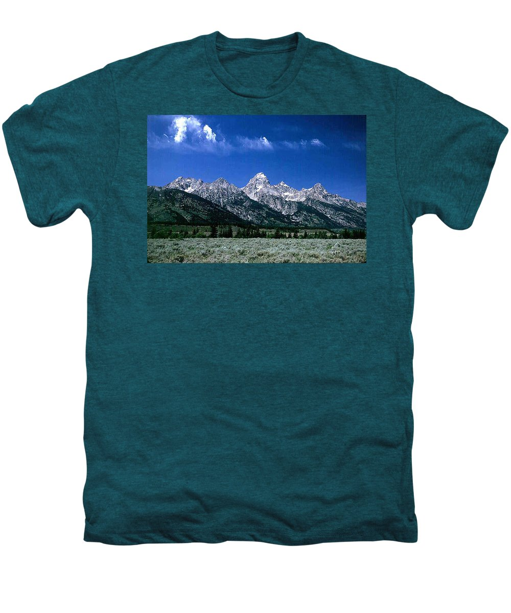 Mountains Men's Premium T-Shirt featuring the photograph First View Of Tetons by Kathy McClure