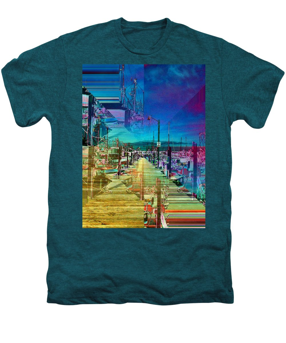 Seattle Men's Premium T-Shirt featuring the digital art Fishermans Terminal Pier 2 by Tim Allen