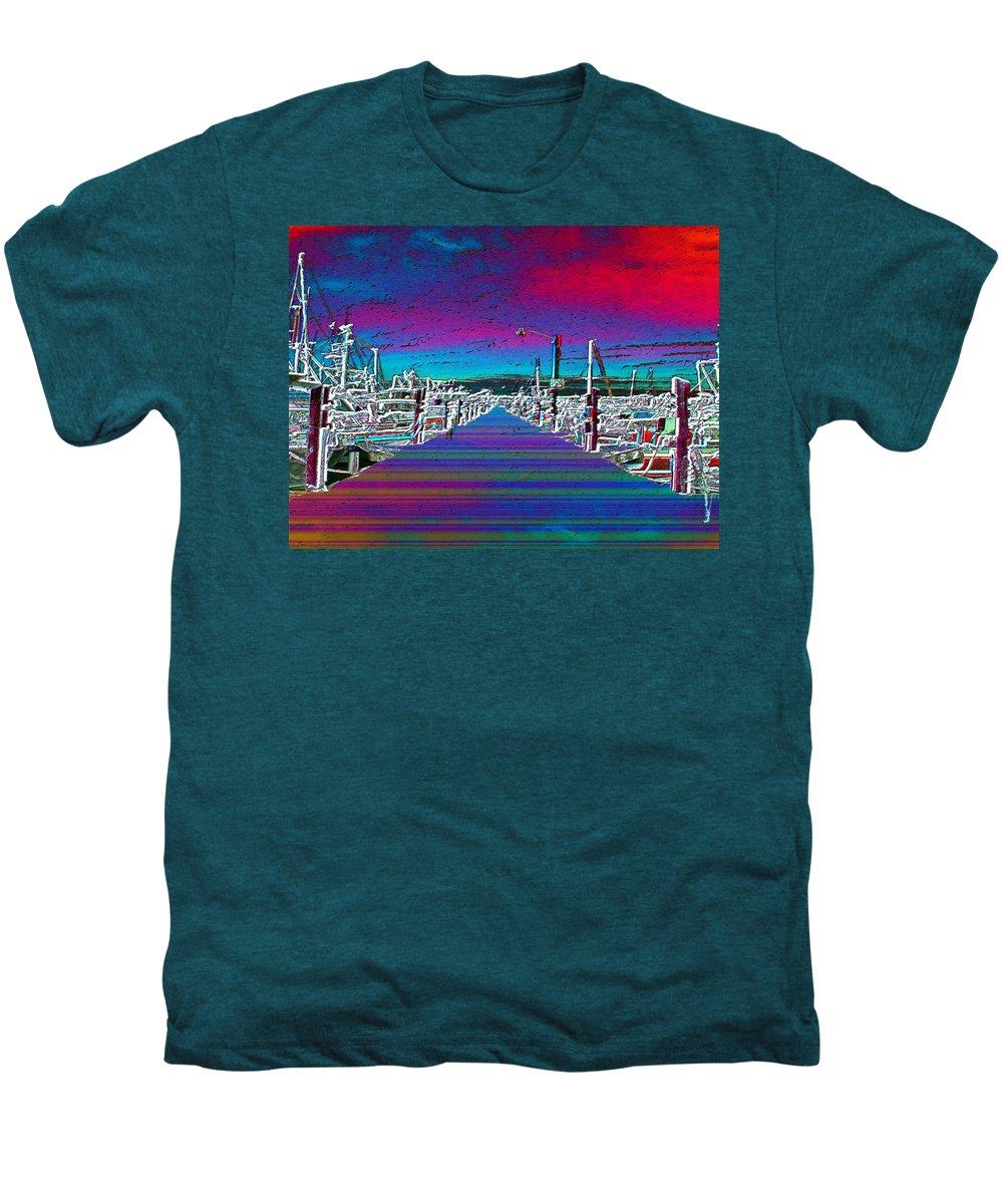 Seattle Men's Premium T-Shirt featuring the photograph Fishermans Terminal Pier by Tim Allen