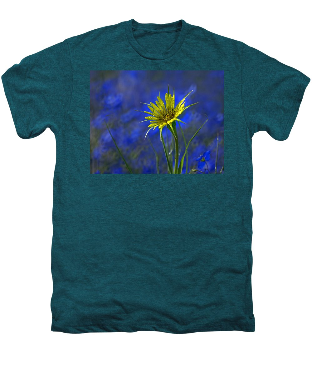 Flower Men's Premium T-Shirt featuring the photograph Flower And Flax by Heather Coen