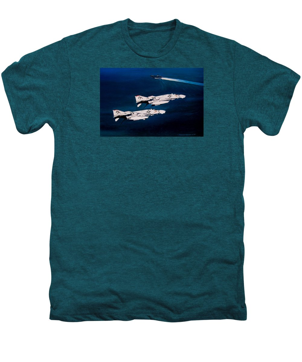 Military Men's Premium T-Shirt featuring the painting Forrestal S Phantoms by Marc Stewart