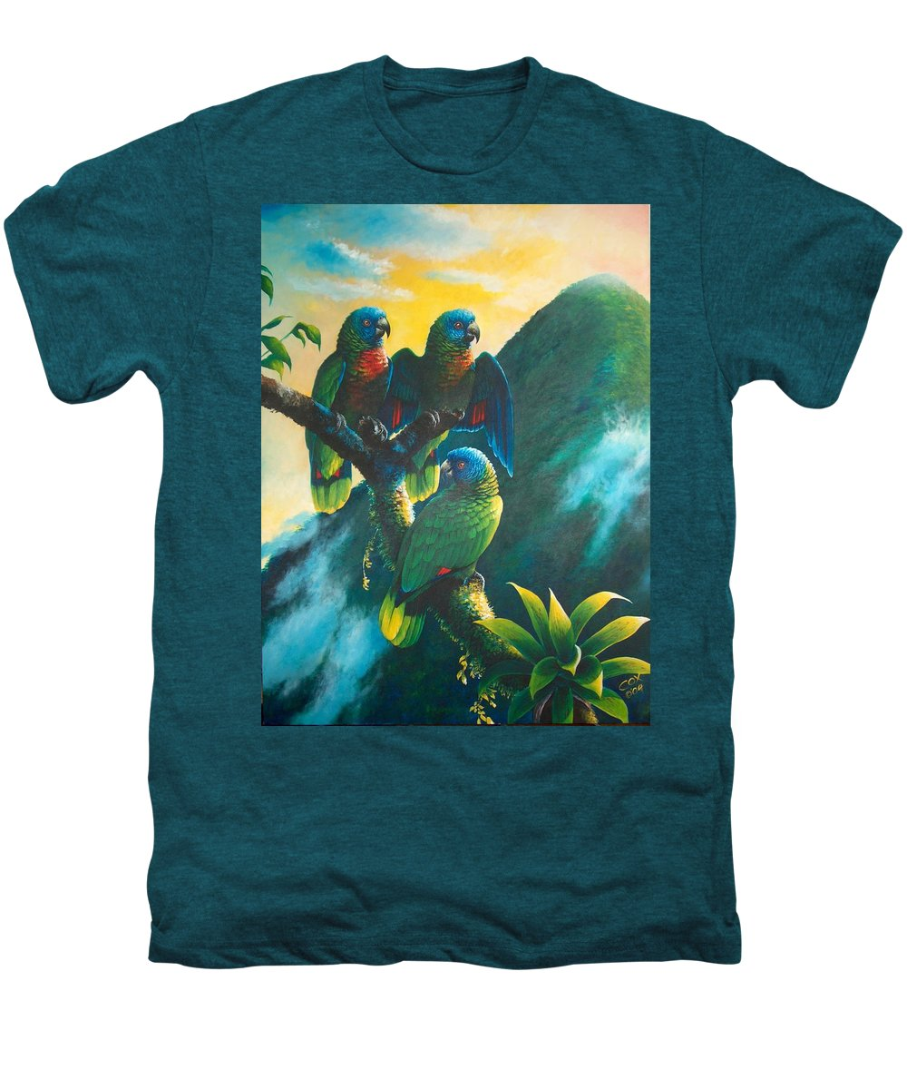 Chris Cox Men's Premium T-Shirt featuring the painting Gimie Dawn 1 - St. Lucia Parrots by Christopher Cox