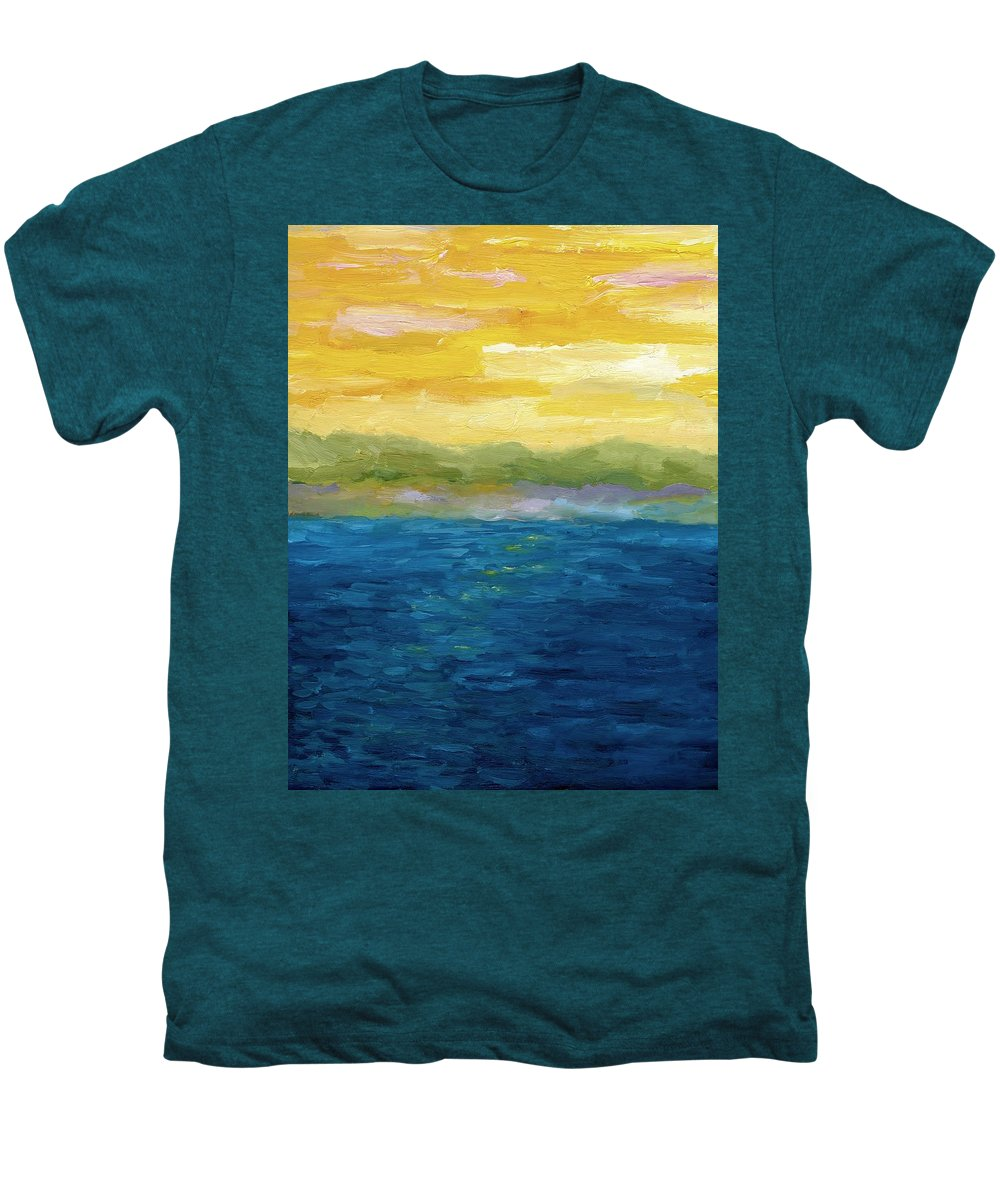Lake Men's Premium T-Shirt featuring the painting Gold And Pink Sunset by Michelle Calkins