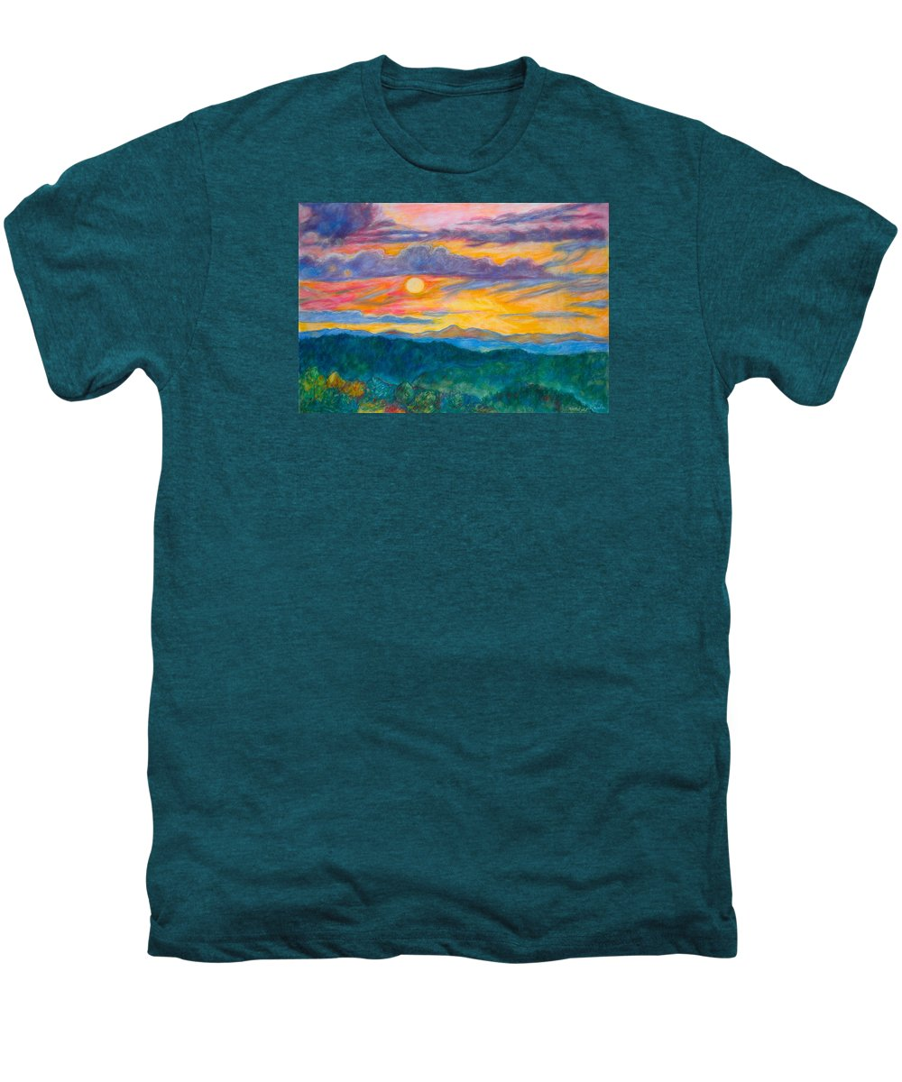 Landscape Men's Premium T-Shirt featuring the painting Golden Blue Ridge Sunset by Kendall Kessler