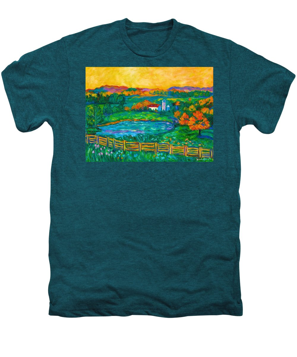 Landscape Men's Premium T-Shirt featuring the painting Golden Farm Scene Sketch by Kendall Kessler
