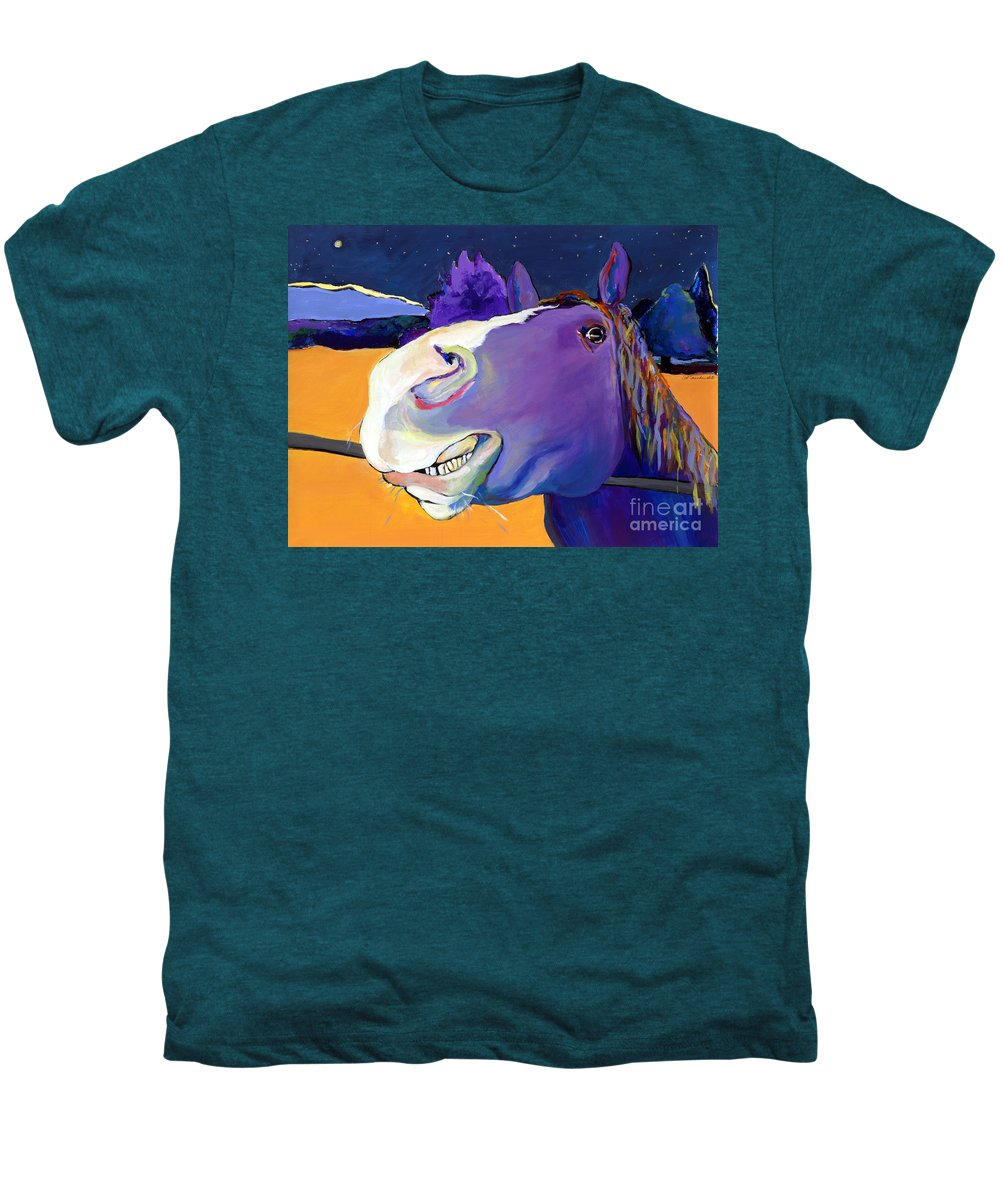 Barnyard Animal Men's Premium T-Shirt featuring the painting Got Oats   by Pat Saunders-White