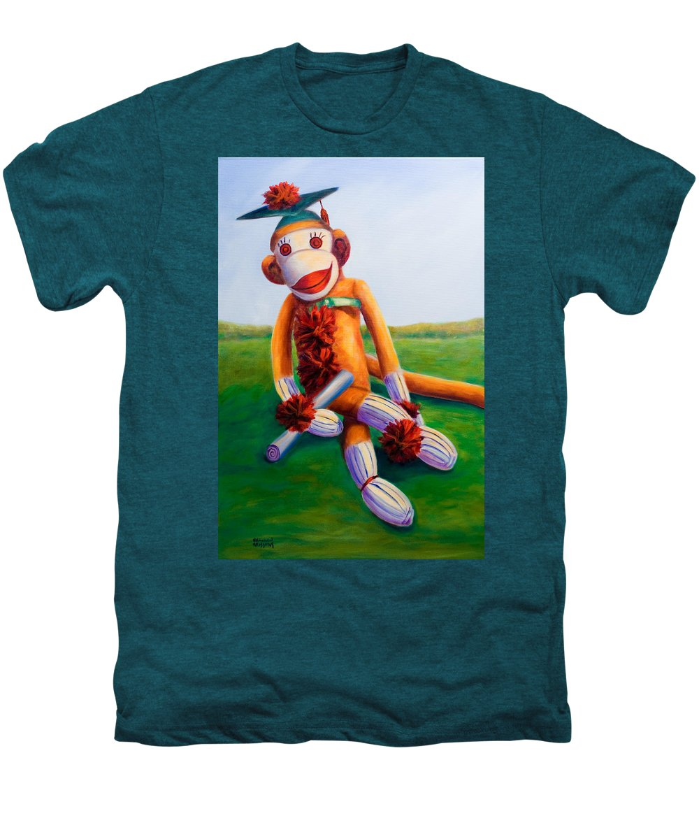 Graduation Men's Premium T-Shirt featuring the painting Graduate Made Of Sockies by Shannon Grissom