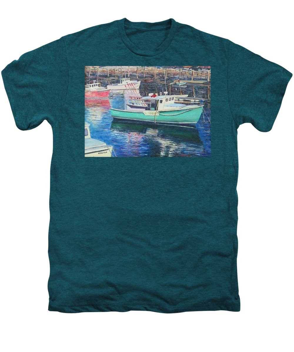 Water Men's Premium T-Shirt featuring the painting Green Boat Reflections by Richard Nowak
