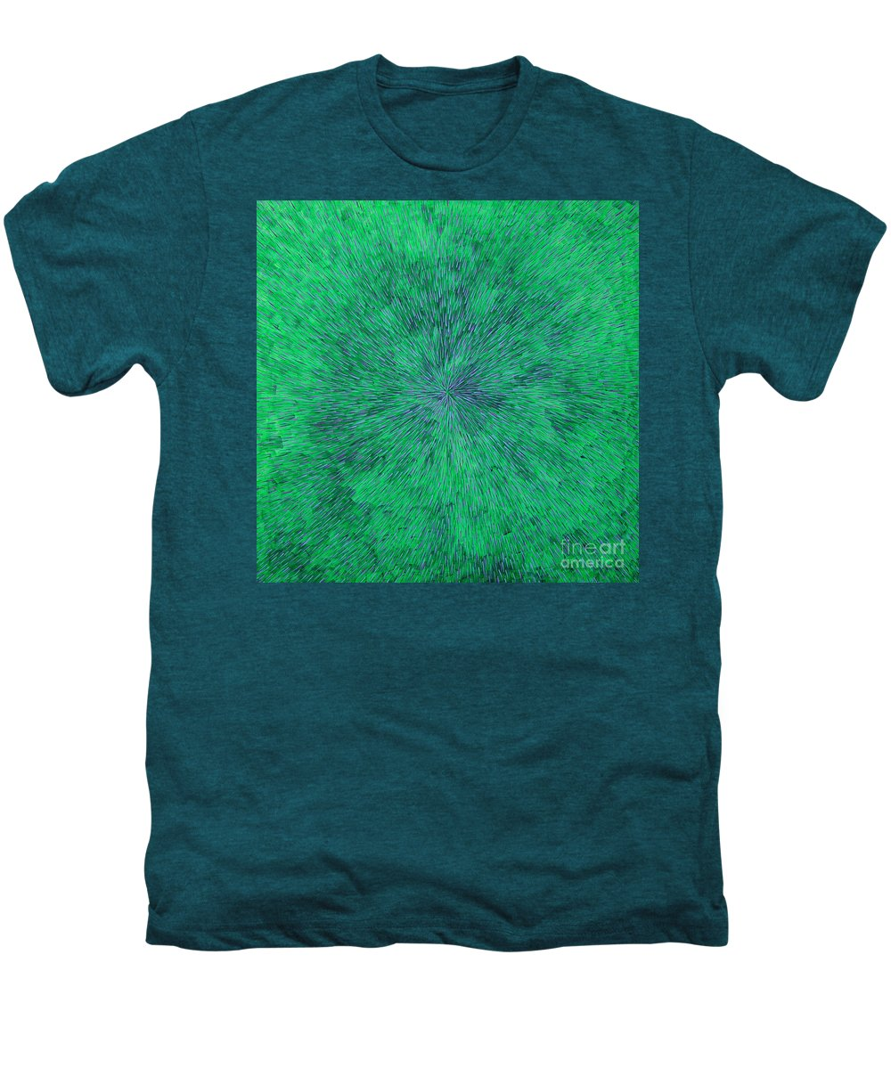Abstract Men's Premium T-Shirt featuring the painting Green Radation With Violet by Dean Triolo