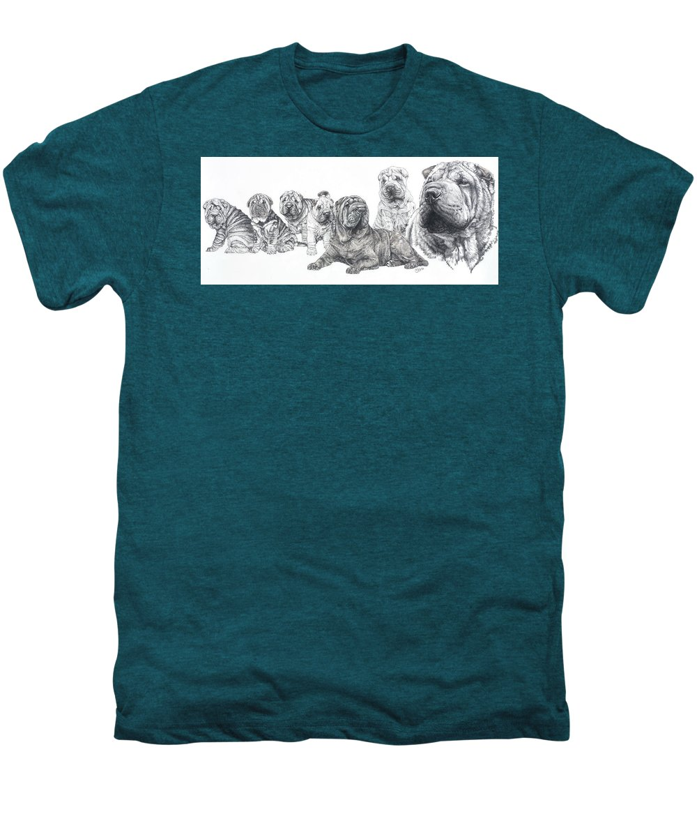 Non-sporting Group Men's Premium T-Shirt featuring the drawing Growing Up Chinese Shar-pei by Barbara Keith