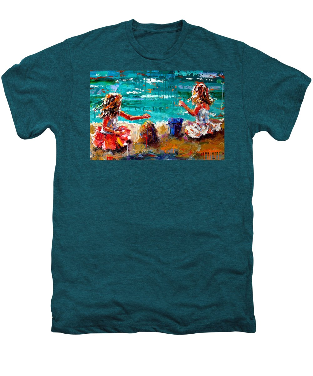 Seascape Men's Premium T-Shirt featuring the painting Her Blue Bucket by Debra Hurd