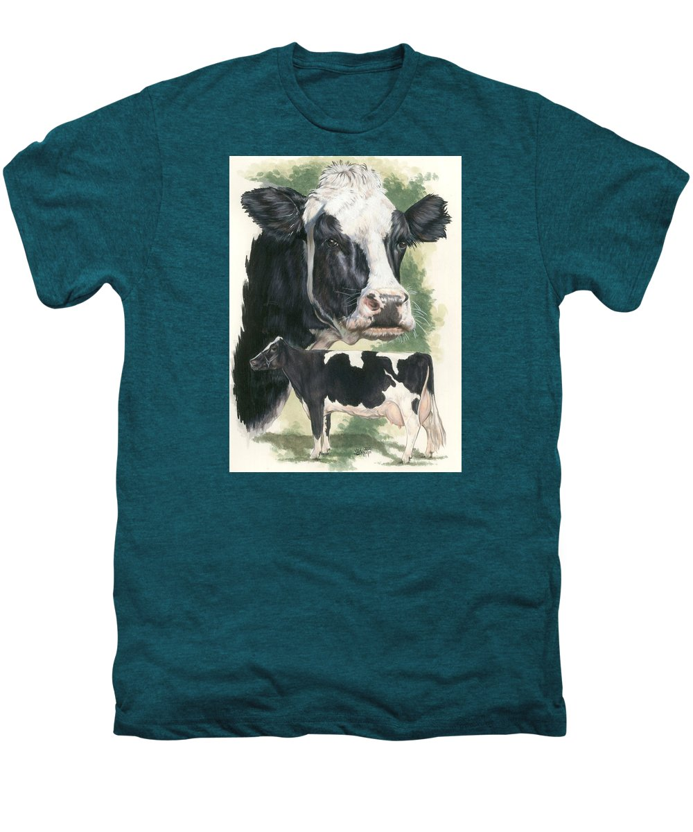 Cow Men's Premium T-Shirt featuring the mixed media Holstein by Barbara Keith
