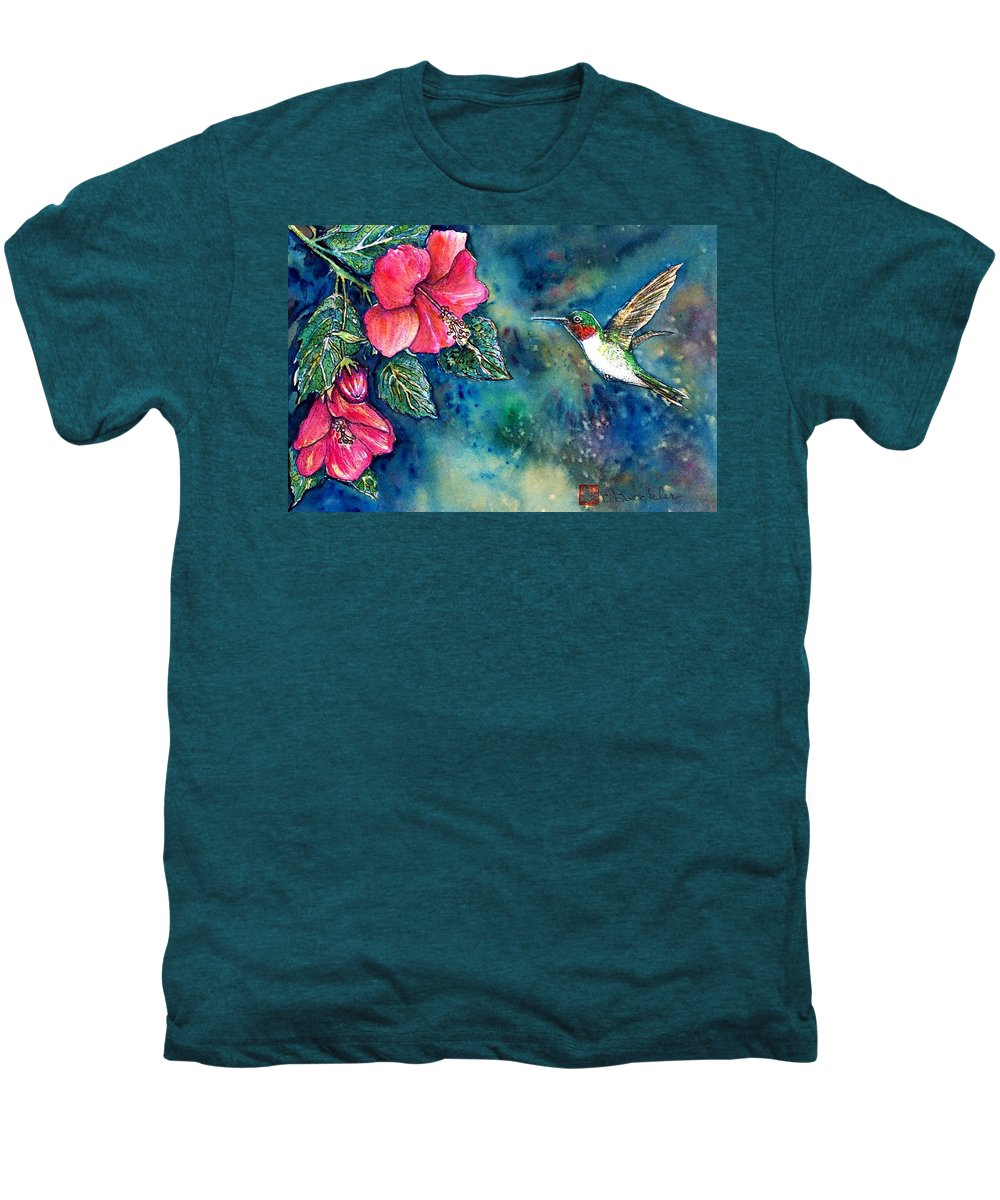 Birds Men's Premium T-Shirt featuring the painting Hummingbird by Norma Boeckler