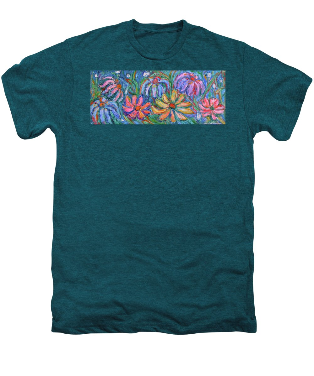 Flowers Men's Premium T-Shirt featuring the painting Imaginary Flowers by Kendall Kessler