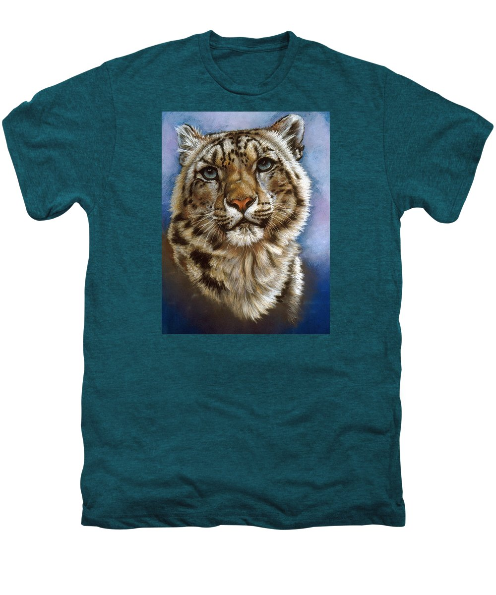 Snow Leopard Men's Premium T-Shirt featuring the pastel Jewel by Barbara Keith
