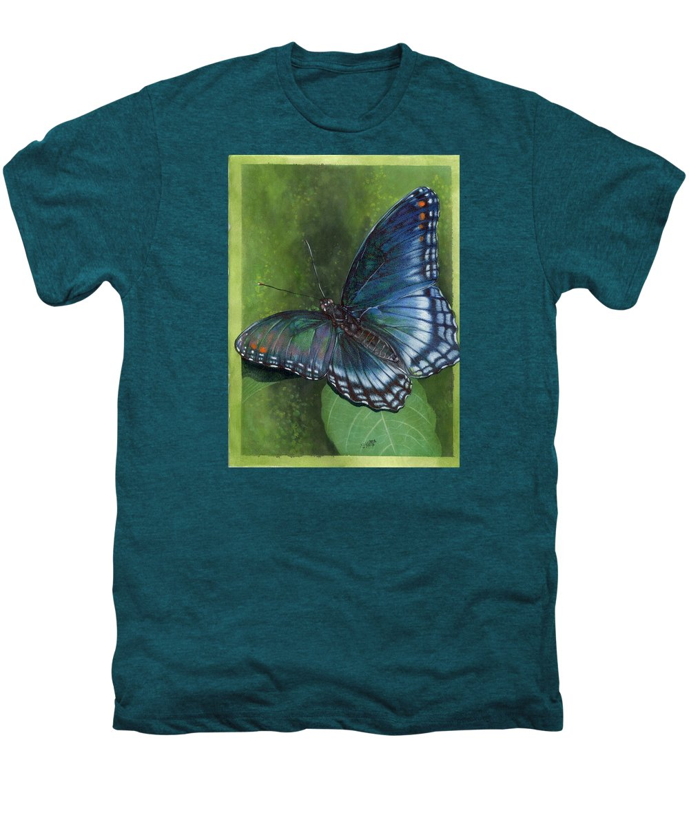 Insects Men's Premium T-Shirt featuring the mixed media Jewel Tones by Barbara Keith