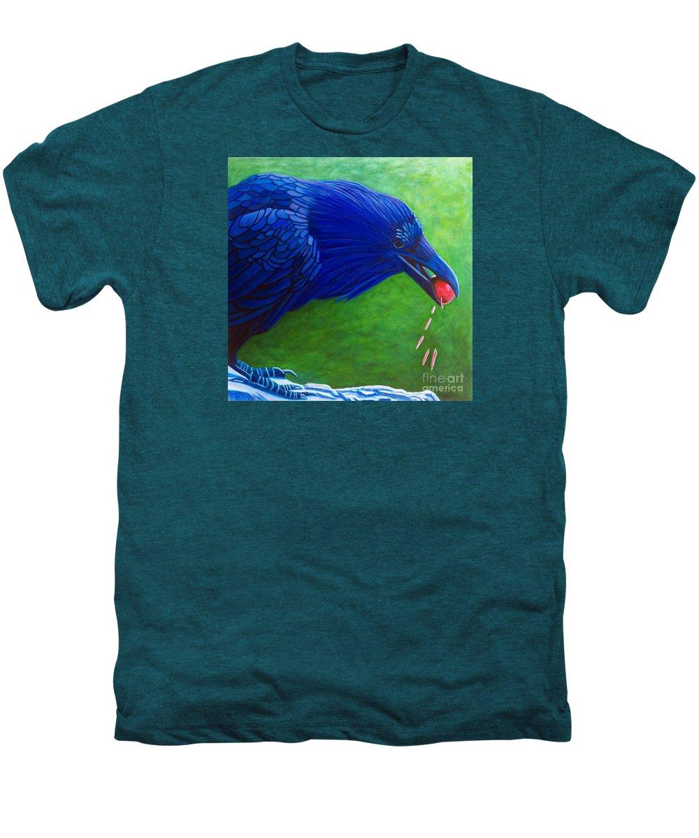 Raven Men's Premium T-Shirt featuring the painting Joie De Vivre by Brian Commerford