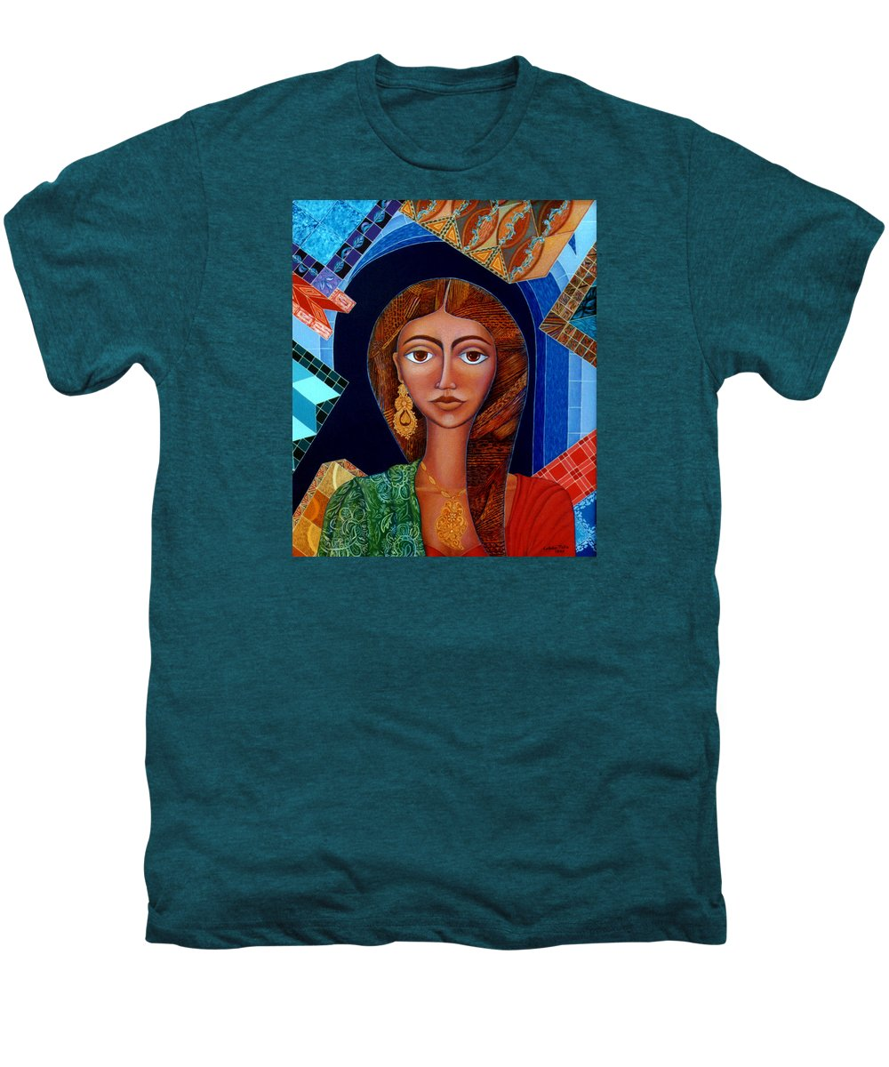 Painting Men's Premium T-Shirt featuring the painting Labyrinth Of Memoirs by Madalena Lobao-Tello