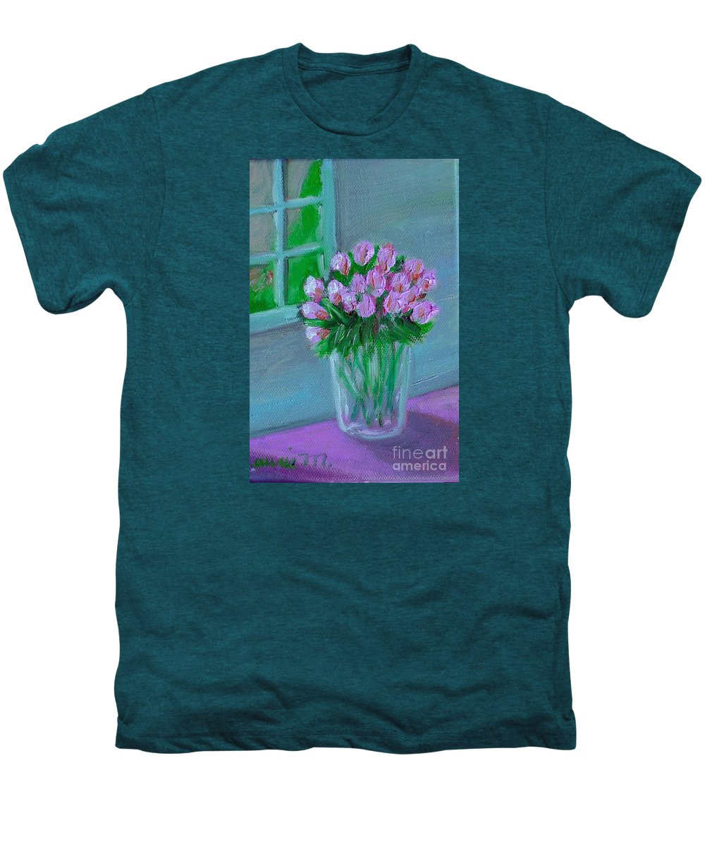 Rose Men's Premium T-Shirt featuring the painting Leslie's Roses by Laurie Morgan