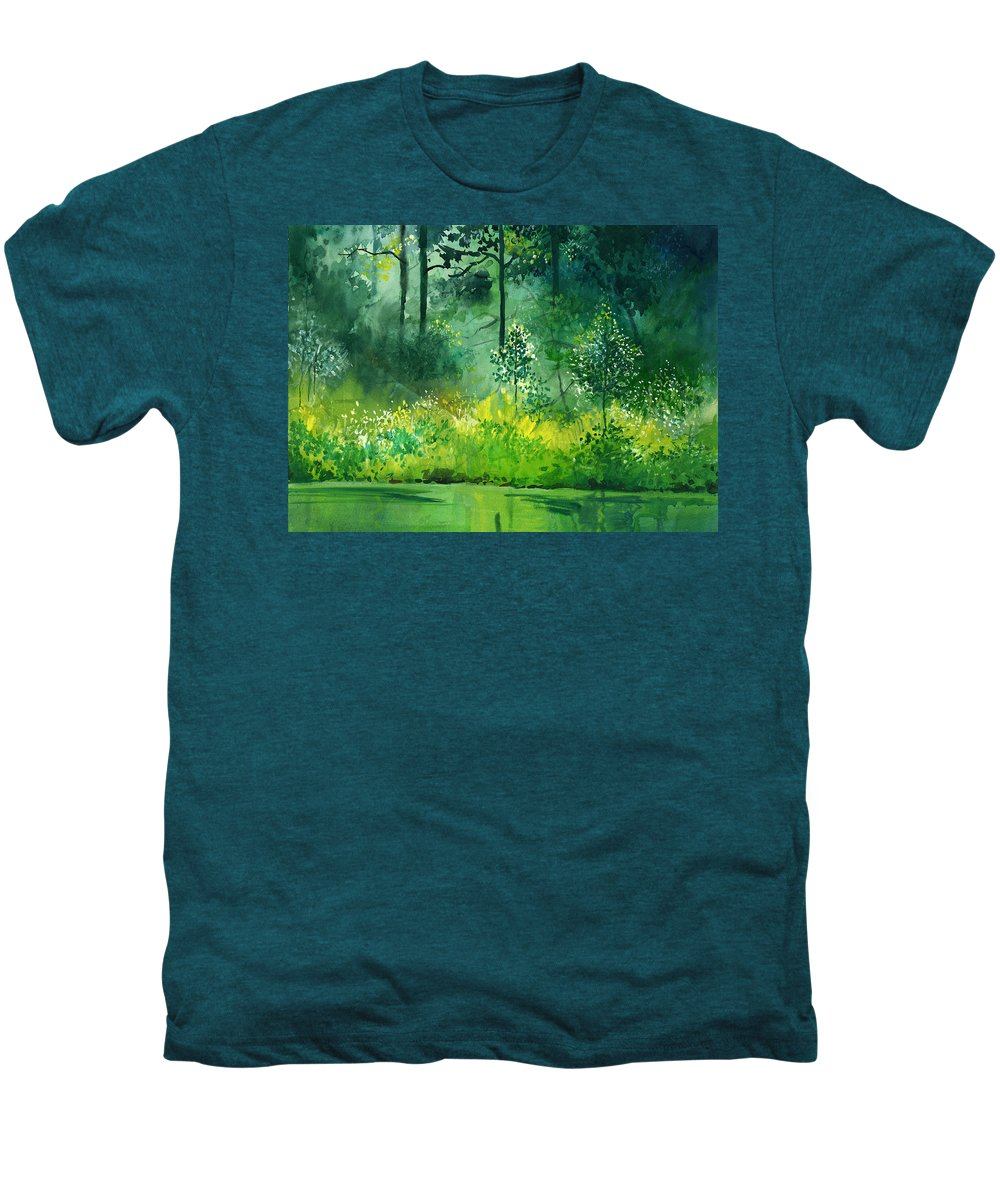 Water Men's Premium T-Shirt featuring the painting Light N Greens by Anil Nene