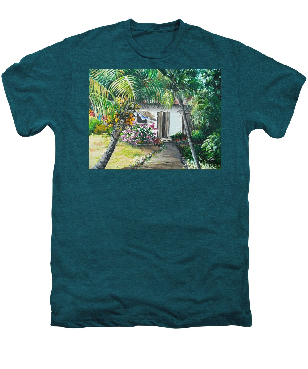 Caribbean Painting Typical Country House In Trinidad And The Islands With Coconut Tree Tropical Painting Men's Premium T-Shirt featuring the painting Little West Indian House 2...sold by Karin Dawn Kelshall- Best