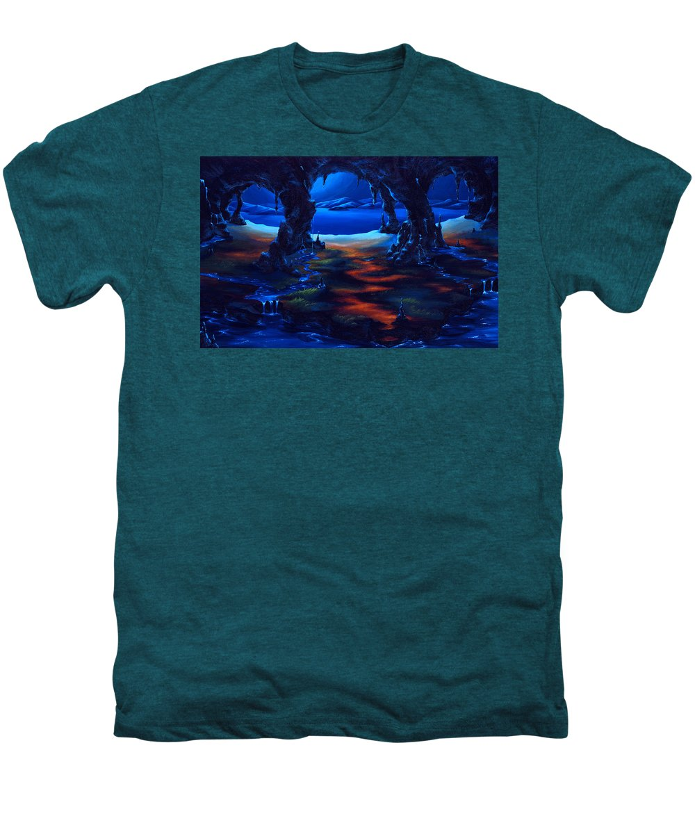 Textured Painting Men's Premium T-Shirt featuring the painting Living Among Shadows by Jennifer McDuffie