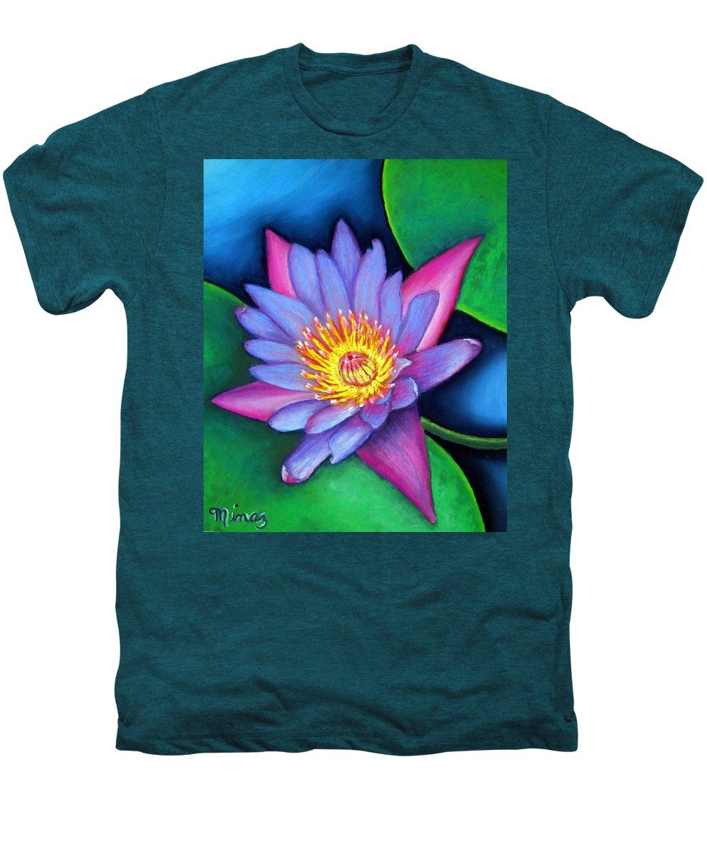Flower Men's Premium T-Shirt featuring the painting Lotus Divine by Minaz Jantz