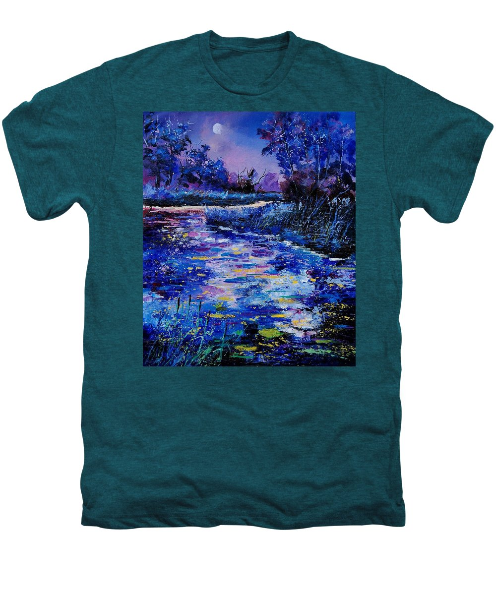 River Men's Premium T-Shirt featuring the painting Magic Pond by Pol Ledent