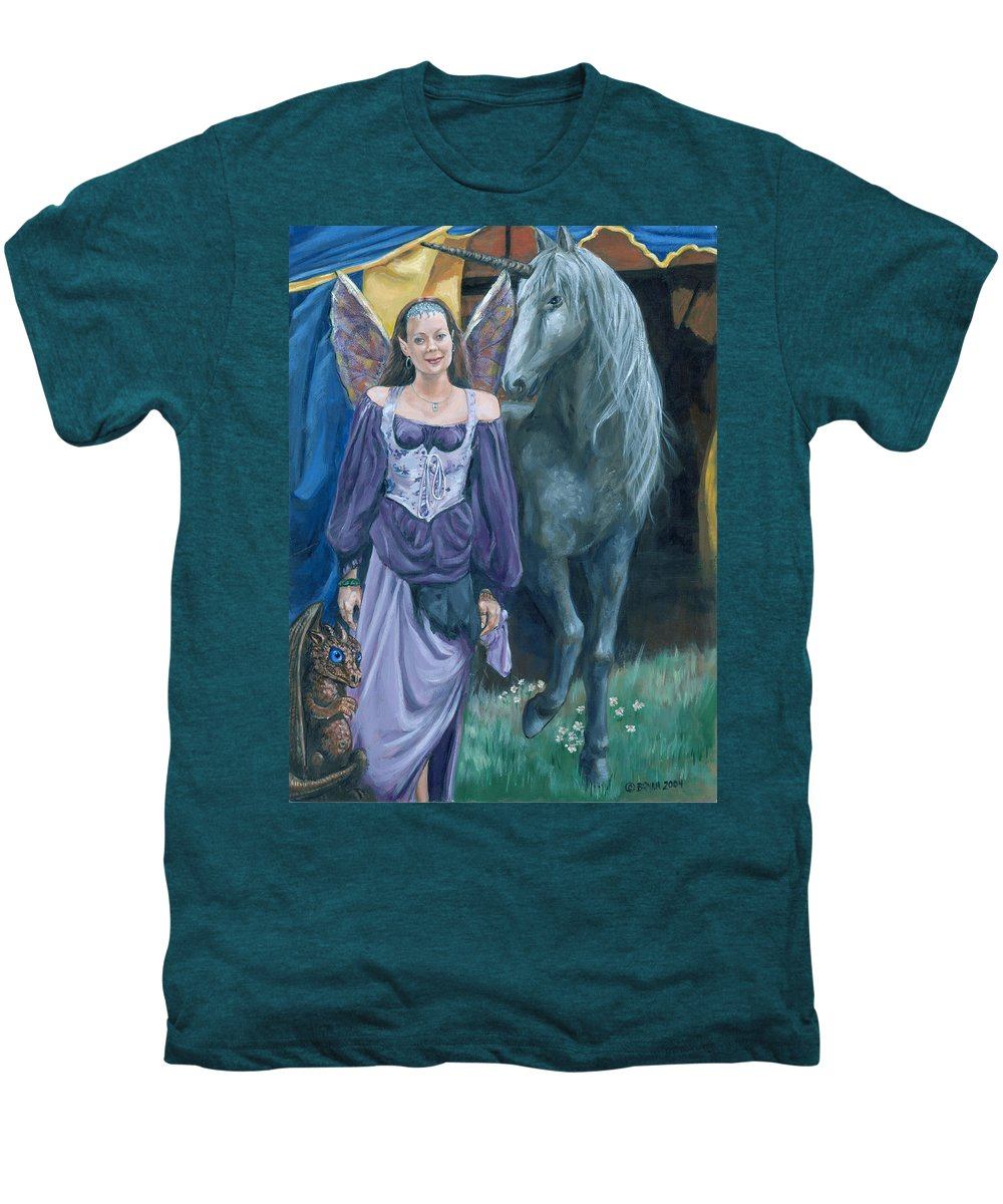 Fairy Faerie Unicorn Dragon Renaissance Festival Men's Premium T-Shirt featuring the painting Medieval Fantasy by Bryan Bustard