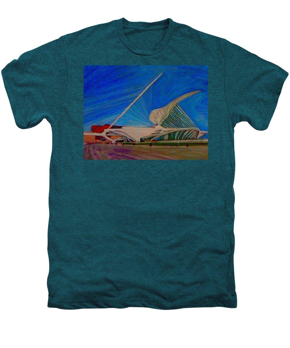 Mam Men's Premium T-Shirt featuring the mixed media Milwaukee Art Museum by Anita Burgermeister