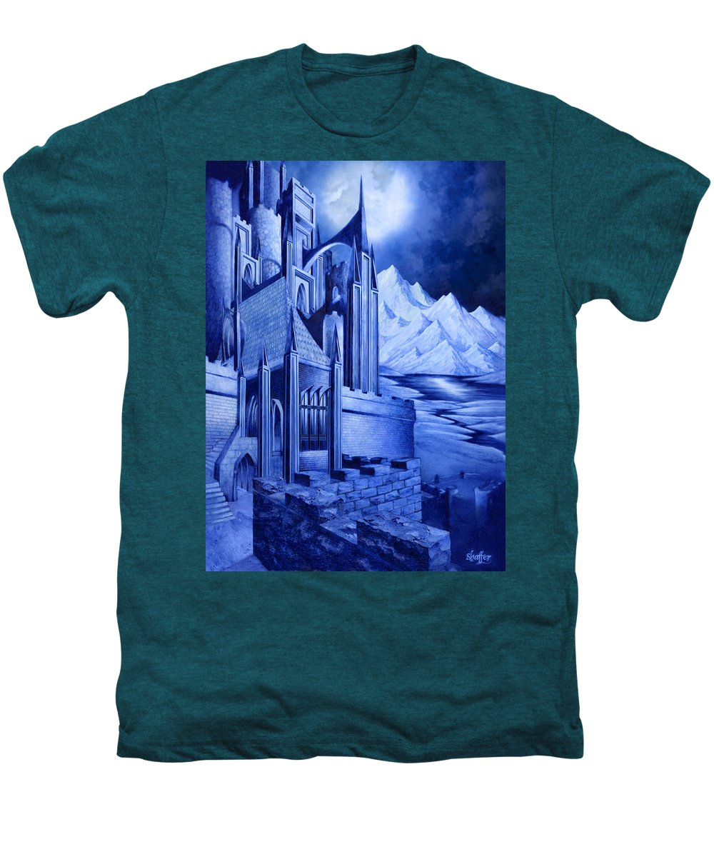 Lord Of The Rings Men's Premium T-Shirt featuring the mixed media Minas Tirith by Curtiss Shaffer