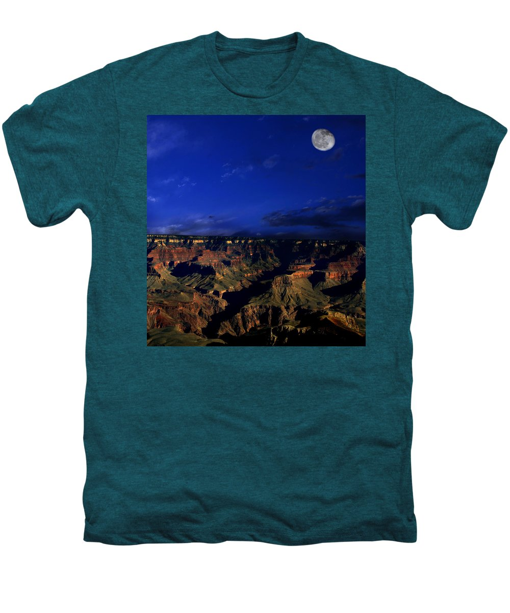 Grand Canyon Men's Premium T-Shirt featuring the photograph Moon Over The Canyon by Anthony Jones