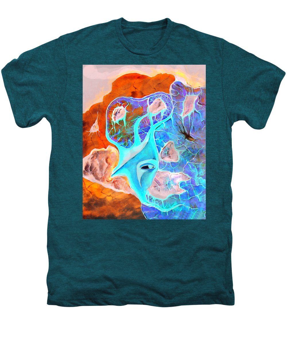 Surrealism Color Sky Haven Stones Men's Premium T-Shirt featuring the painting More Seconds In My Head by Veronica Jackson