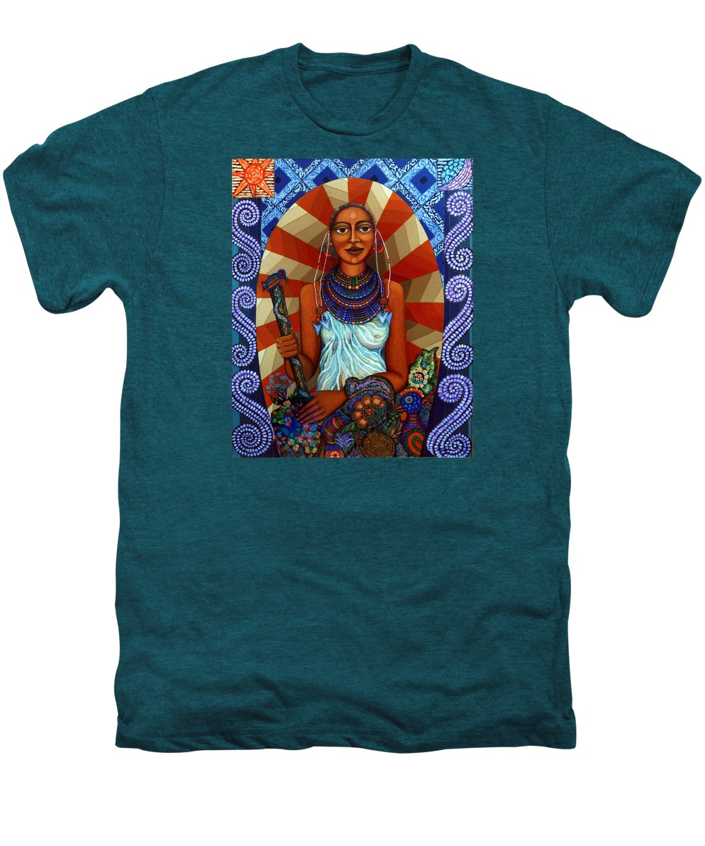 Mother Earth Men's Premium T-Shirt featuring the painting Mother Earth by Madalena Lobao-Tello