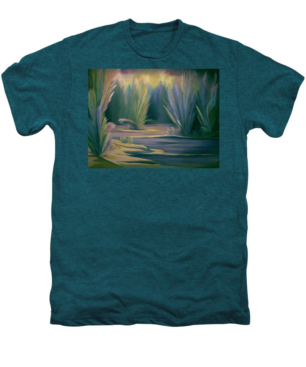 Feathers Men's Premium T-Shirt featuring the painting Mural Field Of Feathers by Nancy Griswold