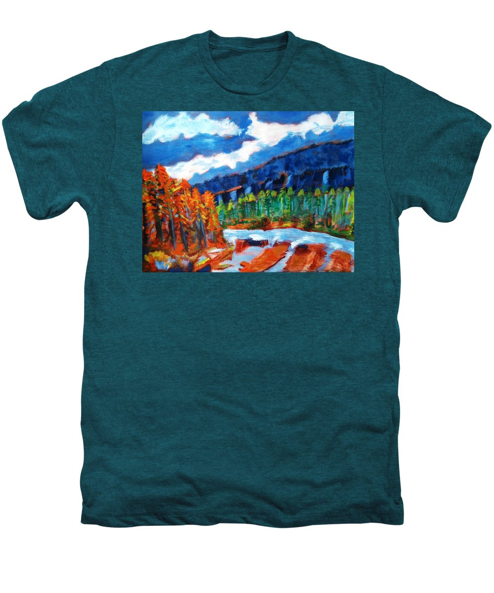 Mountains Men's Premium T-Shirt featuring the painting Naturals by R B