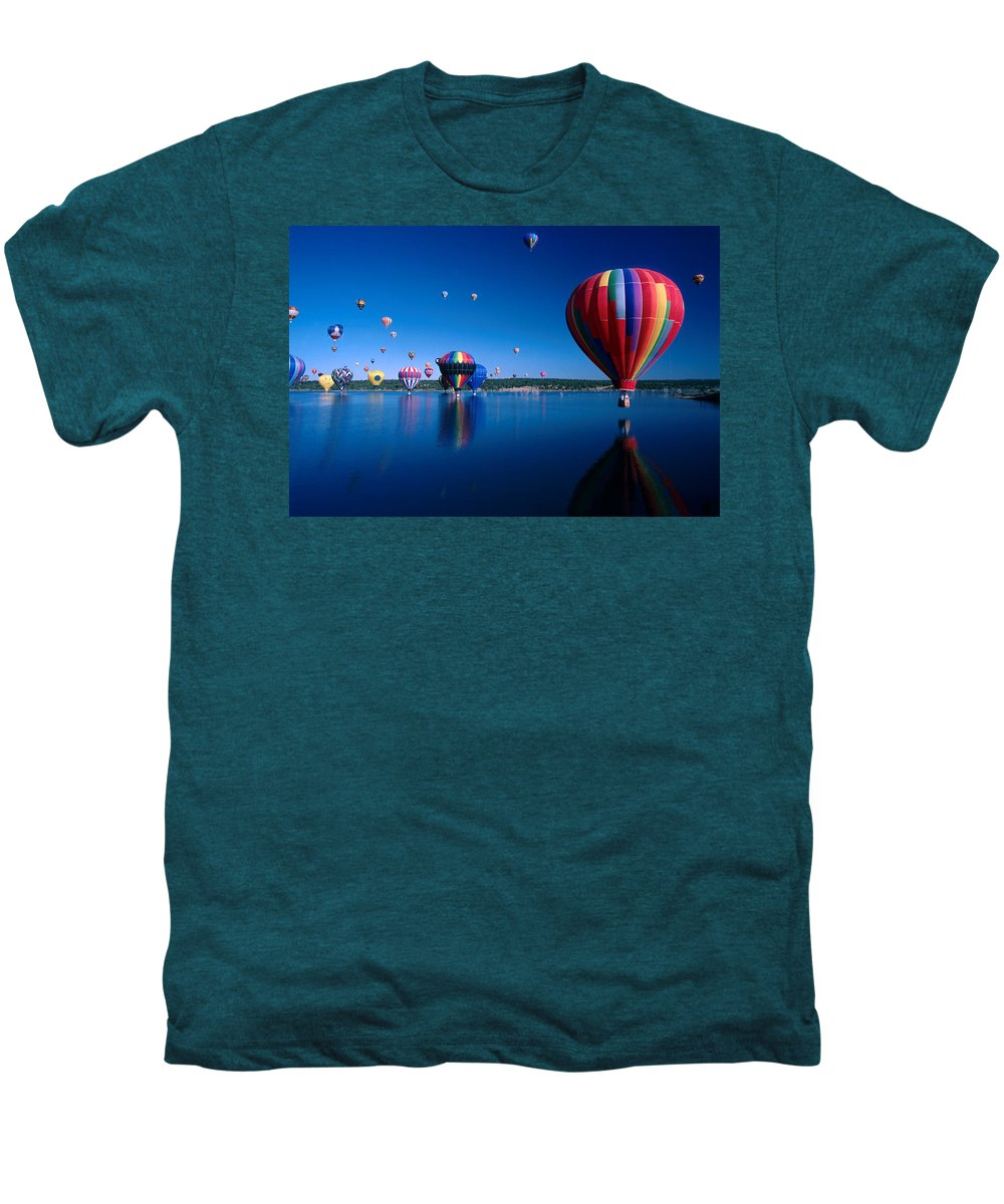 Hot Air Balloon Men's Premium T-Shirt featuring the photograph New Mexico Hot Air Balloons by Jerry McElroy