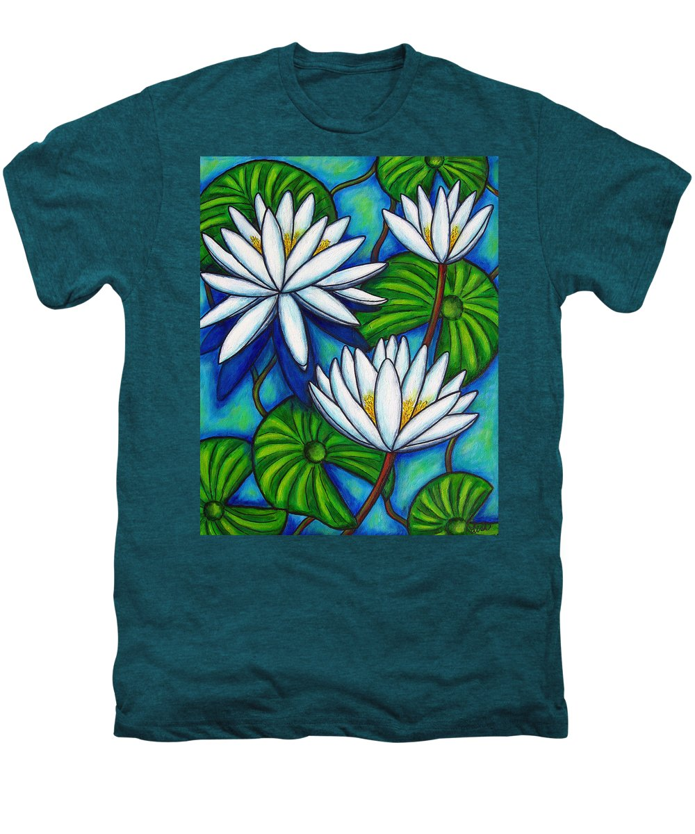 Lily Men's Premium T-Shirt featuring the painting Nymphaea Blue by Lisa Lorenz