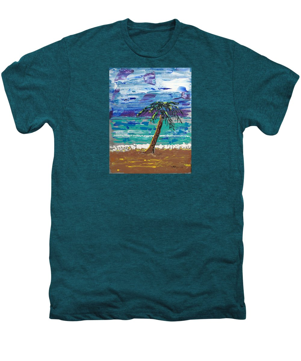 Palm Tree Men's Premium T-Shirt featuring the painting Palm Beach by J R Seymour