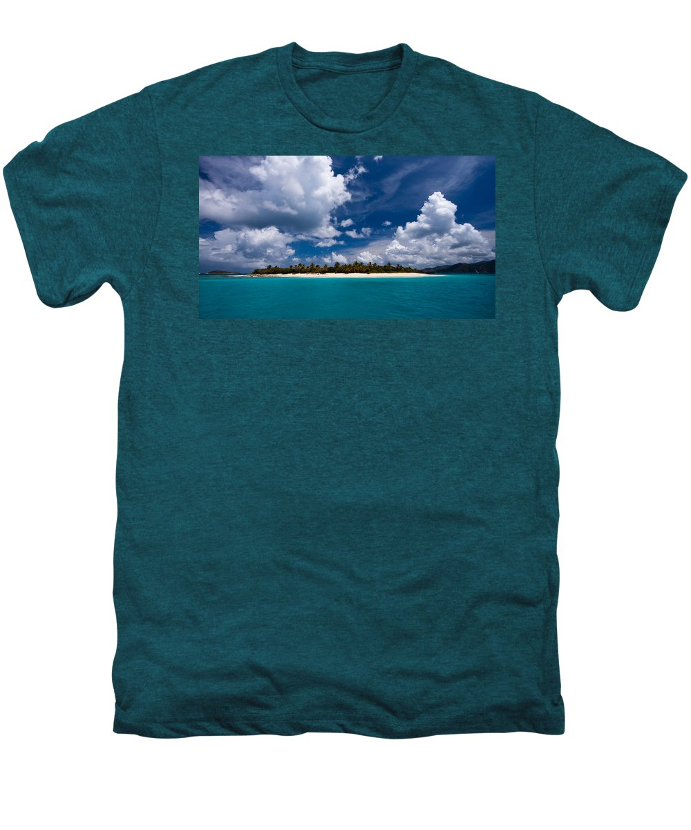 3scape Men's Premium T-Shirt featuring the photograph Paradise Is Sandy Cay by Adam Romanowicz
