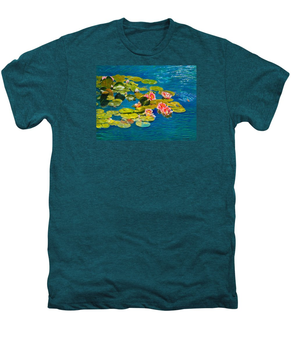 Water Lilies Men's Premium T-Shirt featuring the painting Peaceful Belonging by Michael Durst
