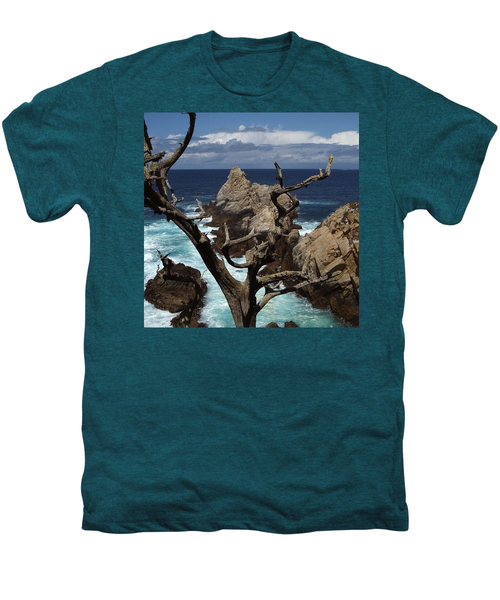 Carmel Men's Premium T-Shirt featuring the photograph Point Lobos Rocks And Branches by Charlene Mitchell