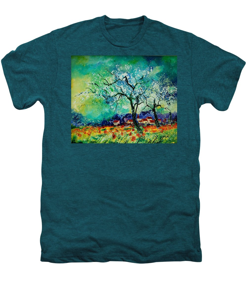 Landscape Men's Premium T-Shirt featuring the painting Poppies And Appletrees In Blossom by Pol Ledent