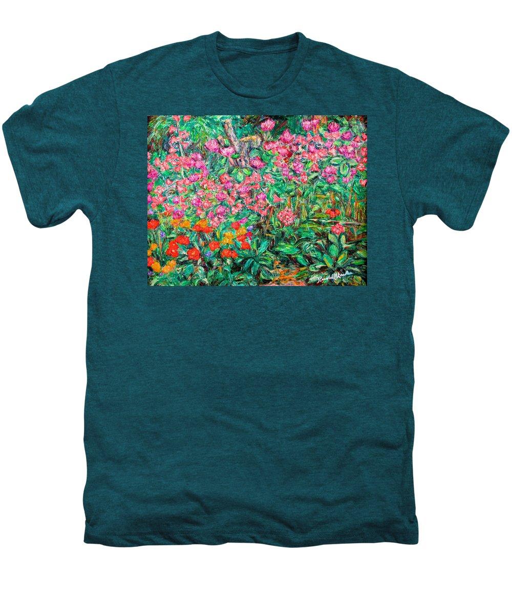 Kendall Kessler Men's Premium T-Shirt featuring the painting Radford Flower Garden by Kendall Kessler