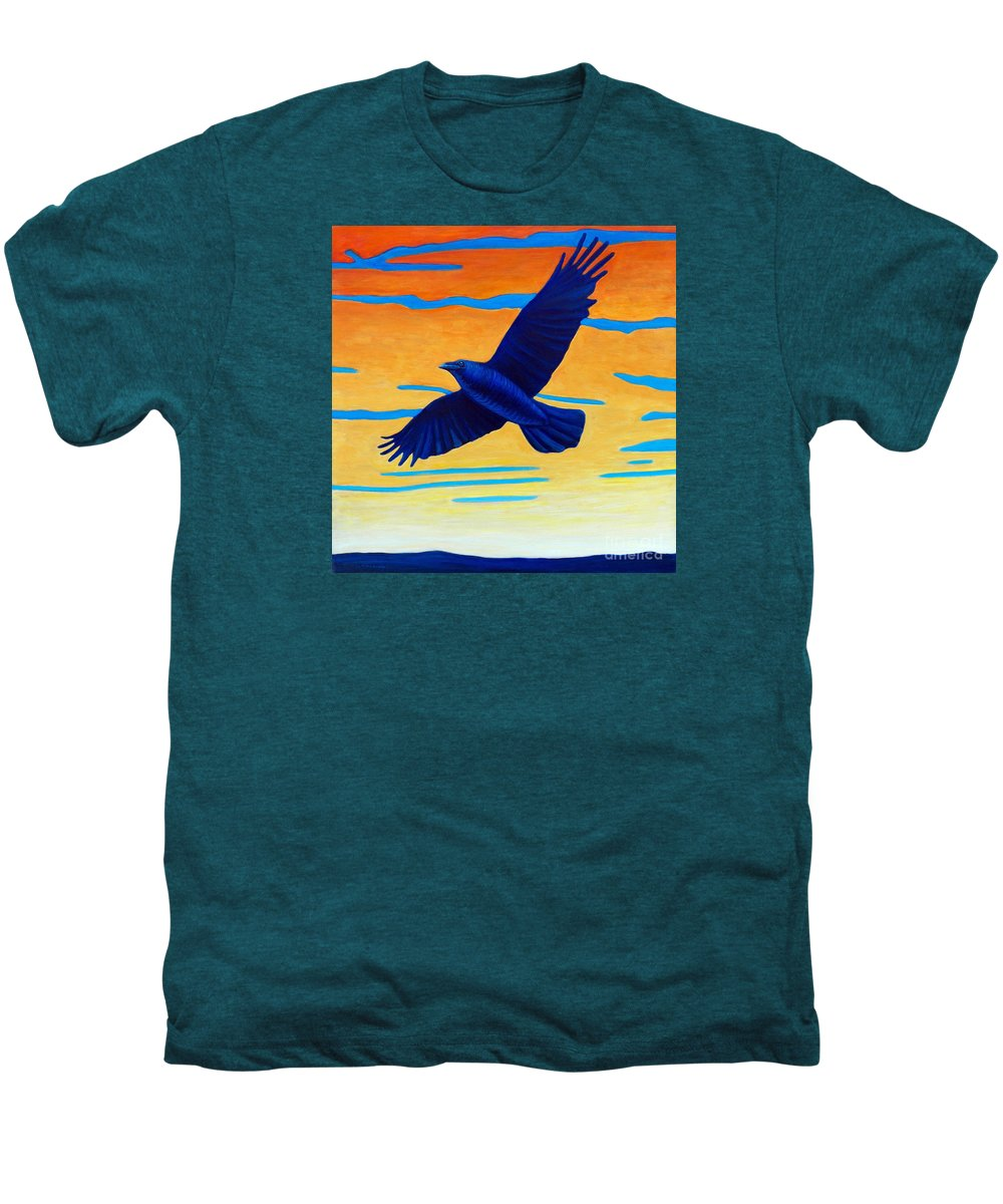 Raven Men's Premium T-Shirt featuring the painting Raven Rising by Brian Commerford