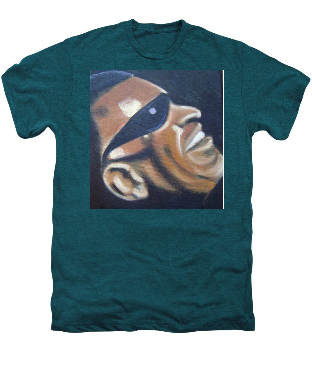 Ray Charles Men's Premium T-Shirt featuring the painting Ray Charles by Toni Berry